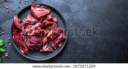 raw heart offal pork or beef meat  food on the table healthy meal ingredient top view copy space for text background rustic  Foto stock ©