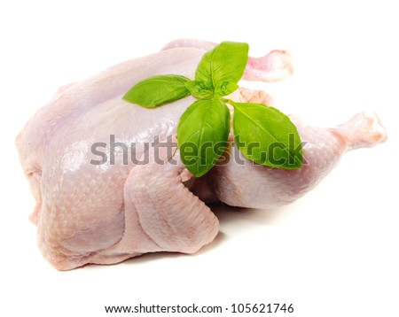 raw hen with sweet basil on a white background - stock photo