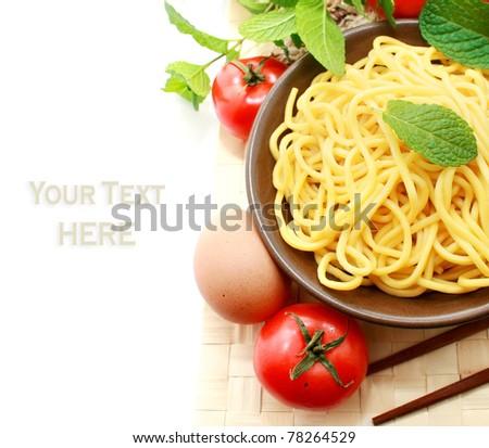 Raw Hokkien Noodle - stock photo