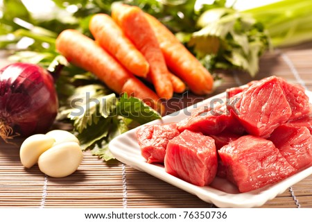 Raw Ingredients For A Traditional Beef Stew Recipe