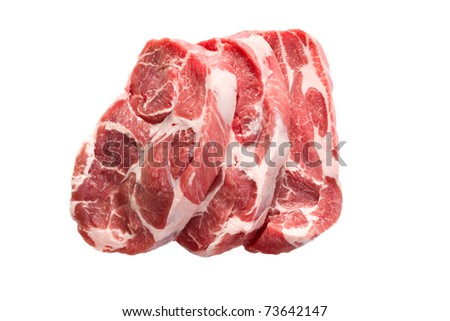 raw juicy meat on white background