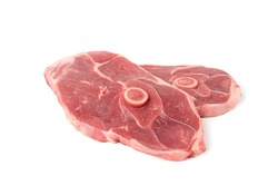 Raw lamb chops or mutton cuts isolated on white background. Fresh sheep meat cutlet on bone cut out closeup