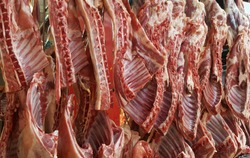 Raw lamb meat  in a carnage at the market