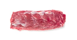 Raw lamb tenderloin fillet or mutton sirloin meat isolated on white background top view. Fresh sheep fillet, loin filet