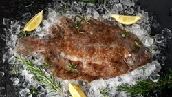 Raw lemon sole fish on ice with herbs and lemon wedges.