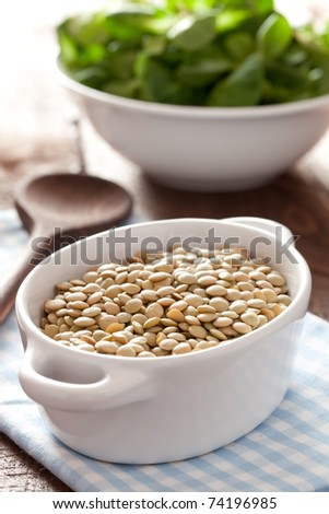 raw lentils in a bowl