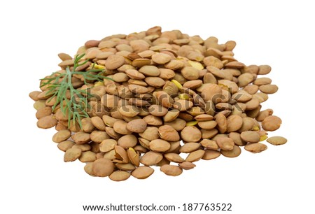 Raw lentils isolated on white