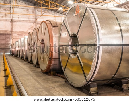 Raw material Handling:Big size steel coil storing inside warehouse