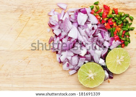 raw material of thai spicy salad