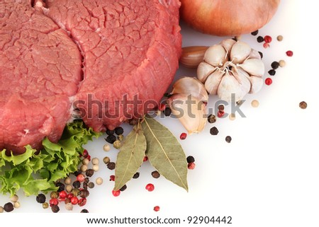 raw meat and spices isolated on white