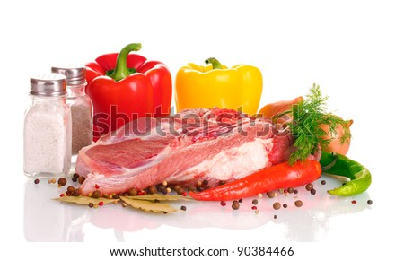 Raw meat and vegetables isolated on whit?