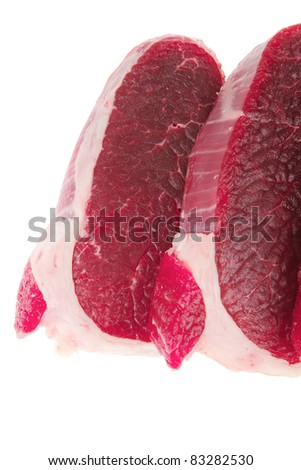 raw meat : fresh beef pork big tenderloin strip isolated over white background