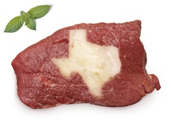 Raw meat (roast beef) and fat composed into it in the shape of Texas.(series)