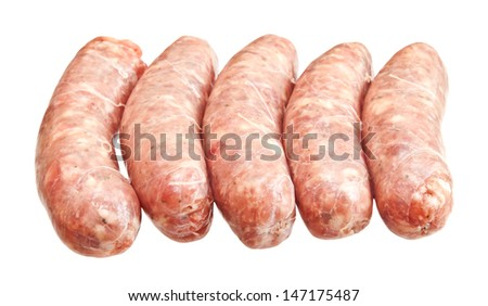 Raw meat sausages isolated on white background