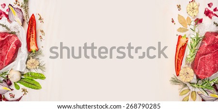 Raw meat with seasoning and spaces on white wooden background, banner for website with cooking concept