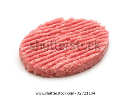 raw minced beef steak on white background