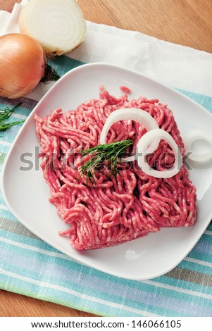Raw minced meat with onion