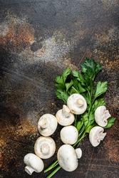Raw mini mushroom champignon. Dark background. Top view. Space for text