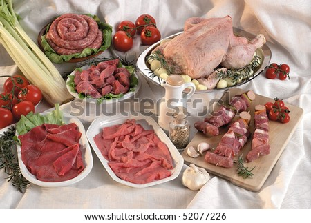 raw mixed meat