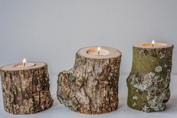 raw natural ash tree wood tea light candle holder house home ero waste decoration