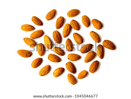 Raw Natural Organic Almonds Nuts Scattered Isolated on White Background Top View Healthy Food for Life Natural Light Selective Focus