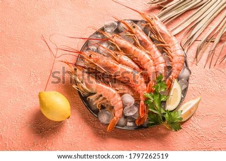 Raw ocean king prawns or jumbo shrimps copy space top view, monochromatic minimalism Stockfoto ©