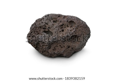 Raw of Basalt volcanic rock isolated on white background. Basalt is an extrusive igneous rock. Stock fotó ©