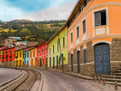 Raw of colorful houses in Alausi railway station, starting-off point for Devil's Nose train in Ecuador