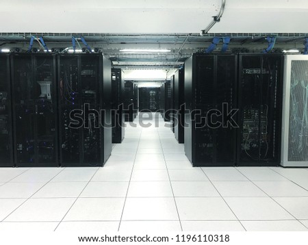 Raw of server rack or Network device in datacenter.Datacenter concept #1196110318