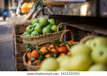 Raw organic autumn farmers market basket with raw fresh vegetables and fruits. Autumn organic, agriculture products. Freshly, seasonal harvested vegetables. Bio, healthy food. Vegetarian food.