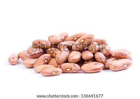 Raw Organic cranberry bean on white background.