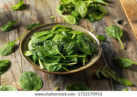 Raw Organic Fresh Baby Spinach in a Bowl Сток-фото ©