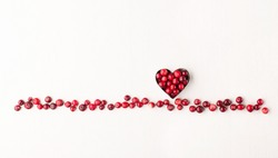 Raw organic fresh Cranberry berries, cowberry or lingonberry on white wooden background. Winter cranberry concept. Healthy lifestyle.