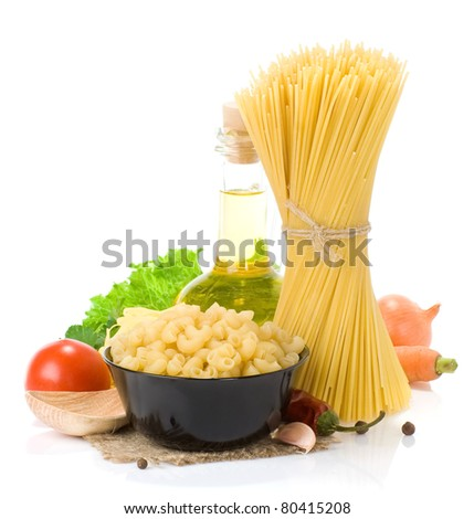 raw pasta and healthy food isolated on white background - stock photo