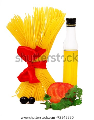 Raw pasta ingredients isolated on white