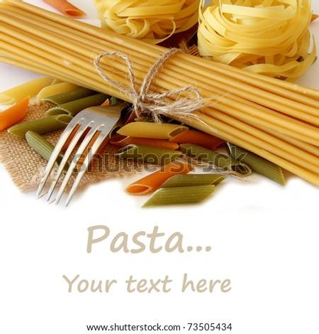 Raw pasta isolate on white