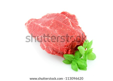 Raw piece of beef on a white background.