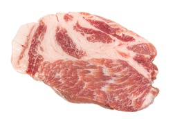 Raw piece of meat,  uncooked pork on white background