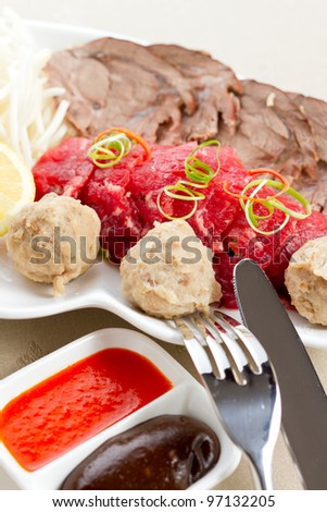 Raw pieces of meat