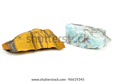 raw pieces of Tiger's Eye and Larimar (healing stones)