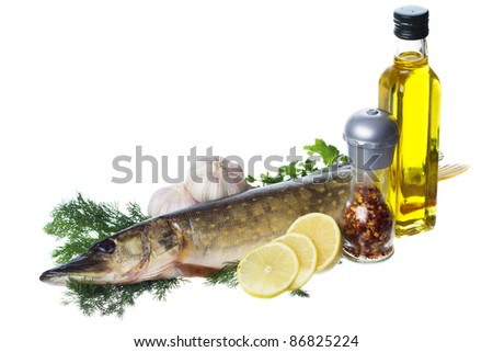 Raw pike with cooking ingredients isolated on white background - stock photo