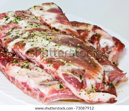 Raw pork chops seasoned with the bottom out of focus