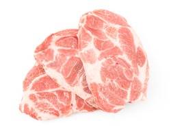 Raw pork neck meat cuts top view isolated on white background fresh three slices fan without bone