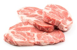 Raw pork neck three meat cuts fan isolated on white background fresh slices without bone