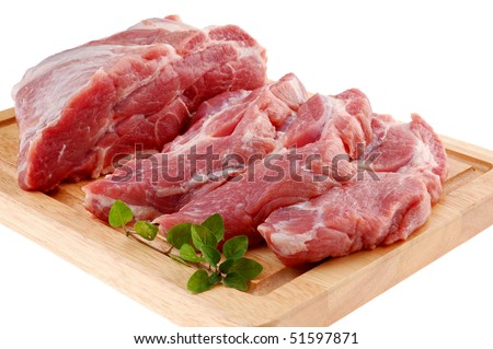 Raw pork on cutting board isolated on white background