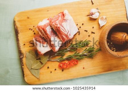 raw pork ribs  garlic  pepper ...