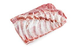 Raw pork ribs. Raw meat, Whole raw pork ribs. Raw pork meat - spare ribs or belly. Fresh meat and ingredients. Butchery, market. isolated on white background