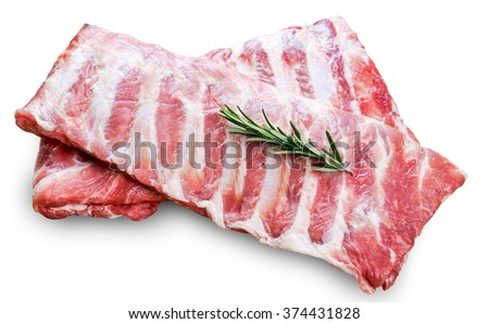 Raw  Pork ribs with a rosemary isolated on white Foto stock ©