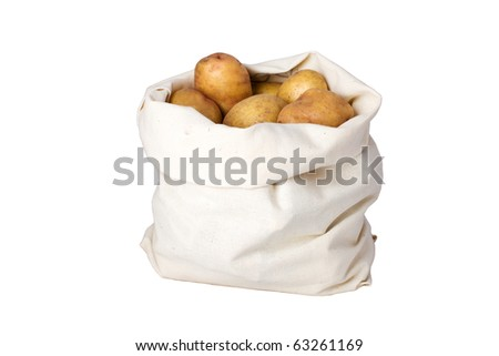 Raw potato in the linseed bag. Clipping path