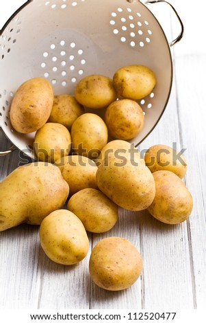 raw potatoes in colander on kitchen table